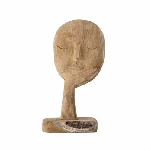 Bloomingville Ornament gerecycled hout gezicht - Naturel