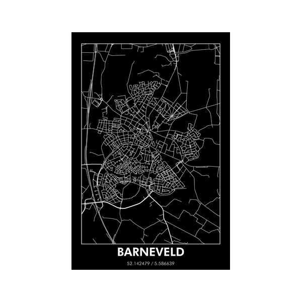 Wandplaat 80x120cm BARNEVELD - Zwart/Wit