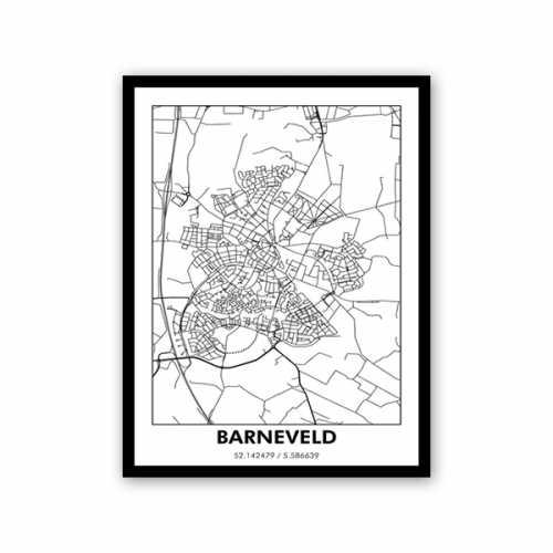 Schilderij 60x80cm BARNEVELD - Wit met zwarte lijst