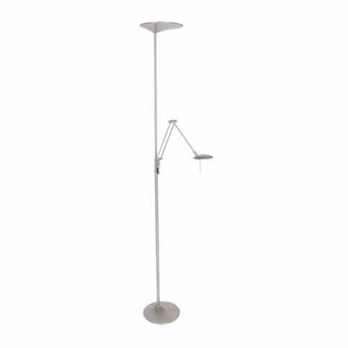 Vloerlamp met leesarm 2-lichts LED - Staal