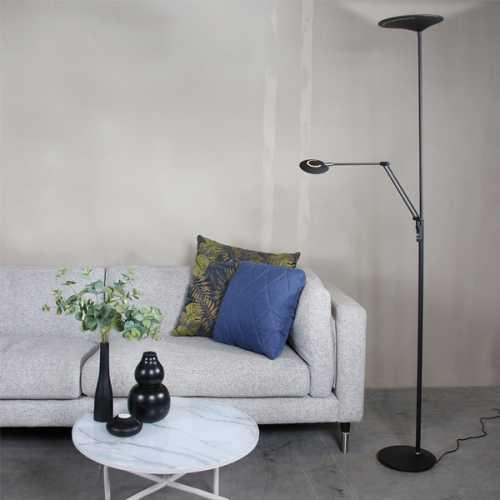 Vloerlamp met leesarm 2-lichts LED - Zwart