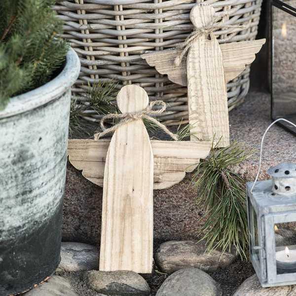 IB Laursen Houten engel met jute touw - 25cm