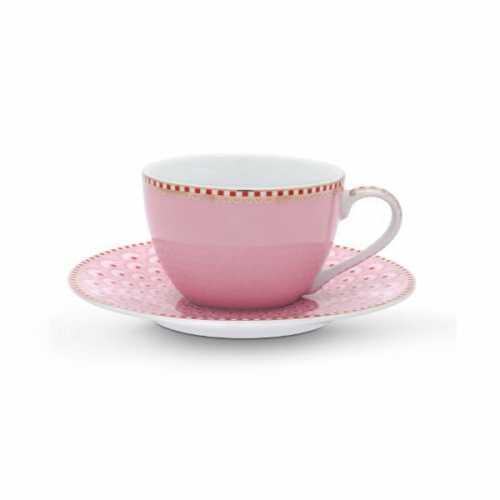Pip Studio Bloomingtails Espresso kop en schotel - Pink