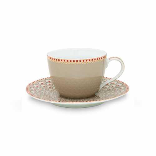Pip Studio Bloomingtails Espresso kop en schotel - Khaki