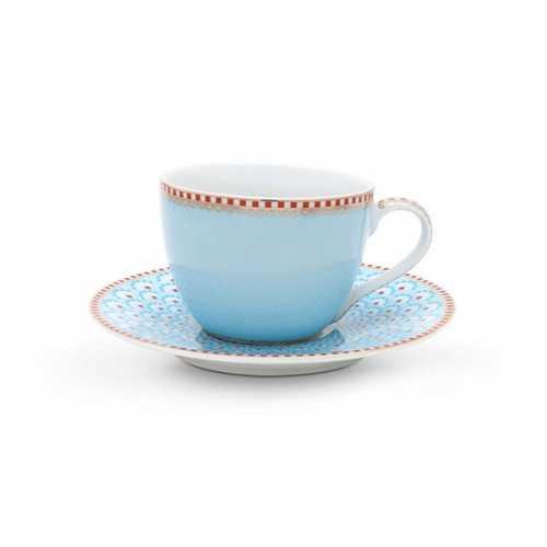 Pip Studio Bloomingtails Espresso kop en schotel - Blue