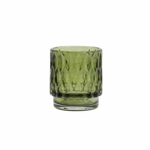 Theelicht glas 7x8cm GRACE - Olijf groen
