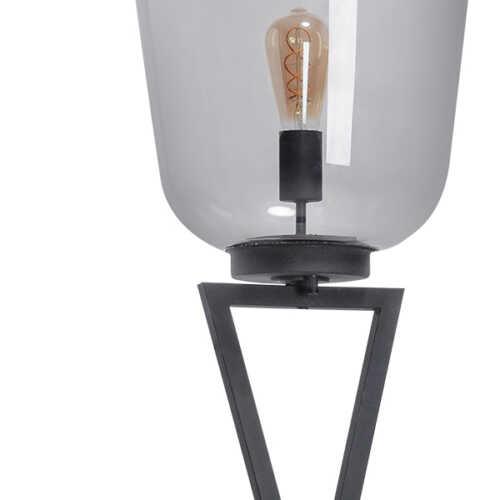 Vloerlamp Benn XL met kruisframe - Zwart gun metal Glas