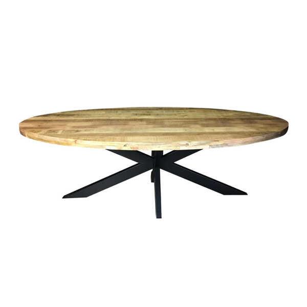 Eettafel ovaal Jennifer met zwart onderstel - 240cm