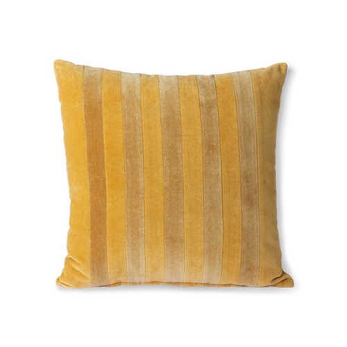 HKliving Cushion Striped velvet 45x45cm - Oker/Gold