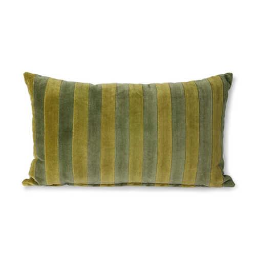 HKliving Cushion Striped velvet 30x50cm - Green/Camo
