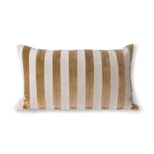 HKliving Cushion Striped velvet 30x50cm - Bruin/Naturel