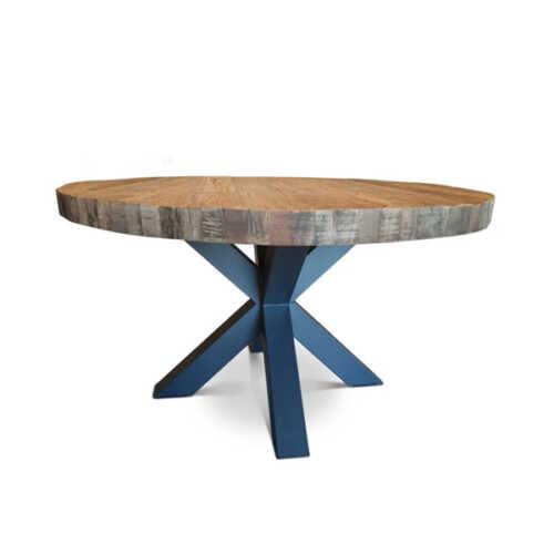Eettafel Steffie gerecycled hout met dik blad Rond - 140cm