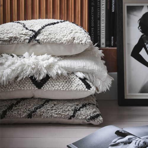 HKliving Sierkussen Zigzag 40x60cm - White/Black