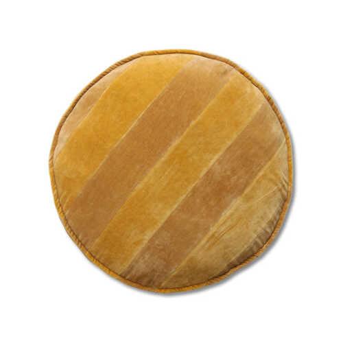 HKliving Stoelkussen Striped velvet 60cm - Oker/Gold