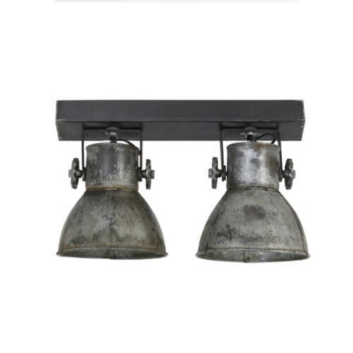Spot/wandlamp 2L ELAY - Metaal vintage zilver