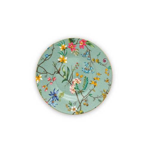 Pip Studio Jolie Flowers Petit Four bordje 12cm - Blauw