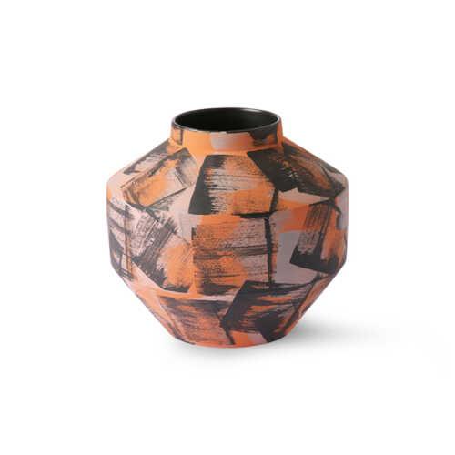 HKliving Keramieken vaas hand geborsteld - Oranje/Zwart