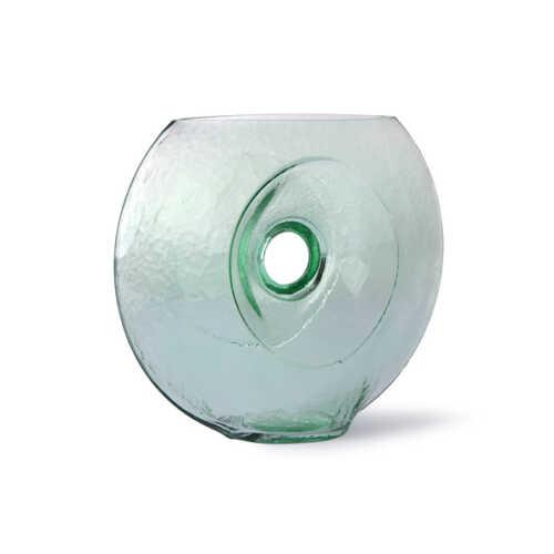 HKliving Circle vaas glas - Groen/helder