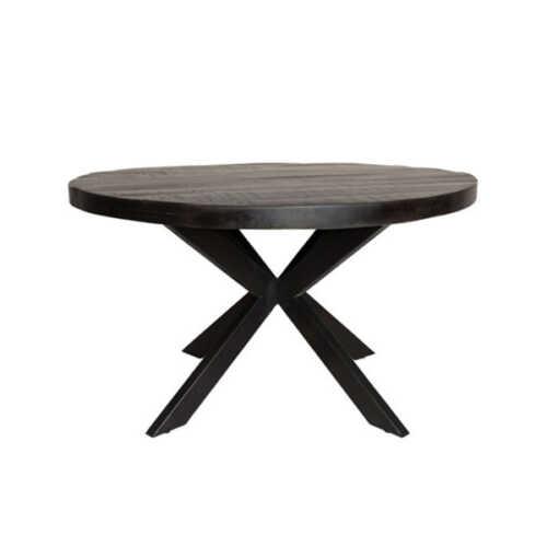 Eettafel rond Jennifer zwart met zwart onderstel - 120cm