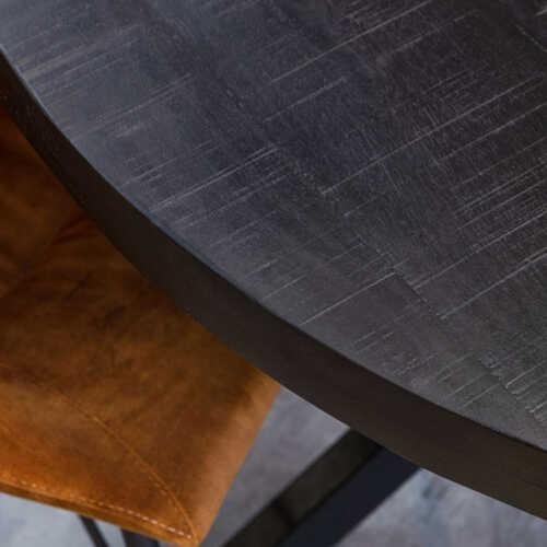 Eettafel rond Jennifer zwart met zwart onderstel - 130cm
