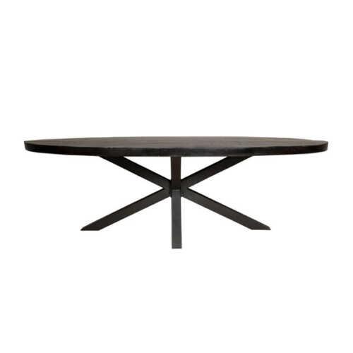 Eettafel ovaal Jennifer zwart met zwart onderstel - 210cm
