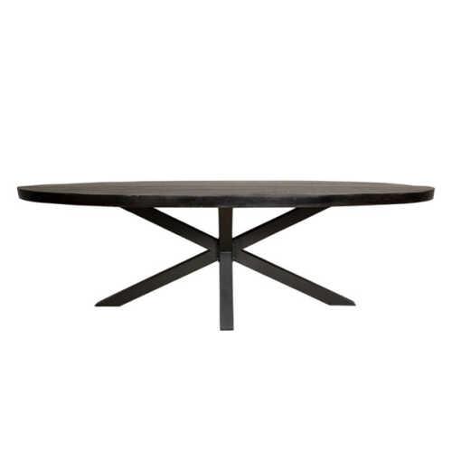 Eettafel ovaal Jennifer zwart met zwart onderstel - 240cm