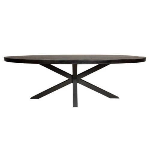 Eettafel ovaal Jennifer zwart met zwart onderstel - 300cm