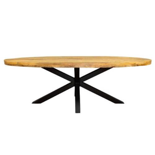 Eettafel ovaal Jennifer met zwart onderstel - 300cm