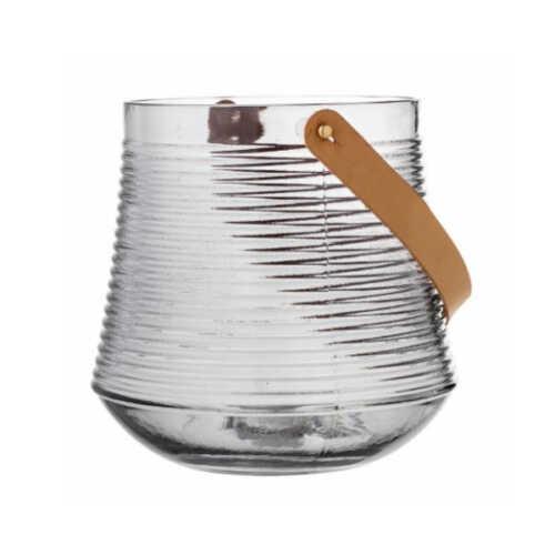 Bloomingville Lantaarn Kasra glas 20cm - Grijs