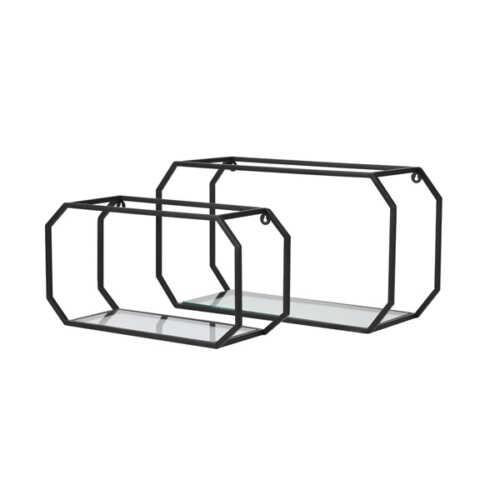 Wandrek set/2 MUKSI metaal en glas - Zwart