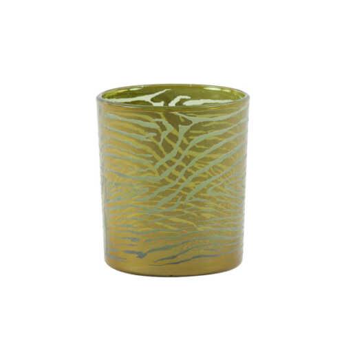 Theelicht 9x10cm ZEBRA glas - Groen/Goud