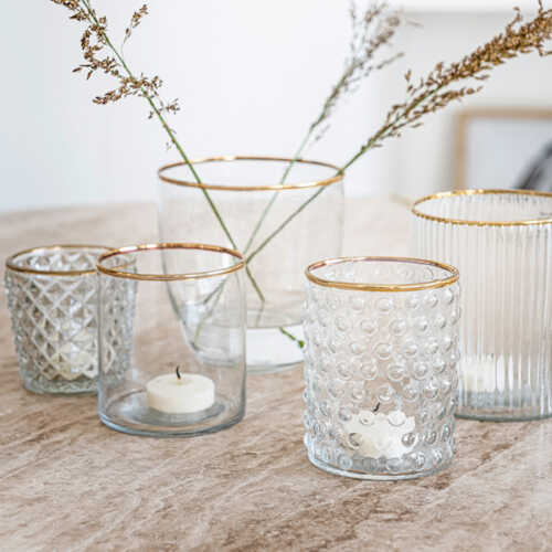 vtwonen Glas 7,5x10cm met gouden rand - Stip